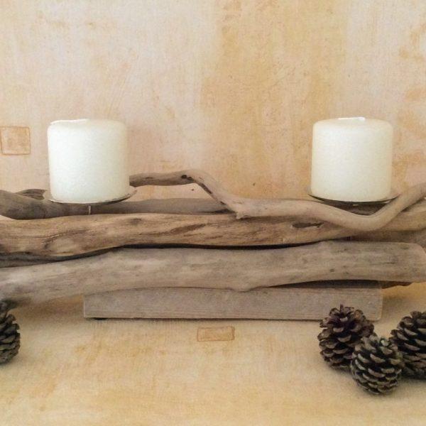 Bougeoir en bois flotté centre de table Kerlividec